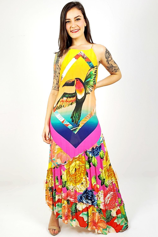 Vestido Barra Assimétrica Multicolorido Farm Lojavivavida